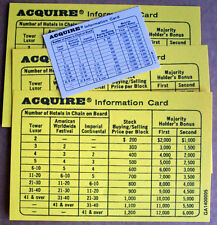 3 enlarged information cards for 1962-95 Game of ACQUIRE