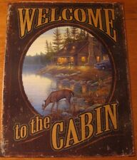Welcome To The Cabin Rustic Lodge By Lake & Deer Artwork Metal Wall Decor Sign