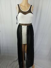 Material Girl Black Creme Illusion Mesh Bodycon Chiffon Drape Party Dress Size S