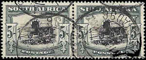 Union of South Africa - SG122 Hyphenated, 1947 Definitive -5s Ox Wagon pair Use