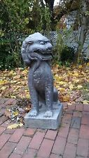 """Two Foo Dog Statues 35"""" Tall Stone Asian Guardians"""