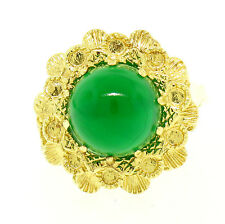 18k Yellow Gold 10mm Round Cabochon Natural Green Onyx Solitaire Flower Ring