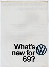 Volkswagen Specification Improvements 1968-69 UK Market Leaflet Brochure Beetle