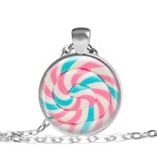 Candy, Cotton Candy, Lollipop Necklace Tibet silver pendant chain Necklace