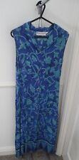 Ladies Bruna Cavvalini Blue Green Floral Button Collar Long Maxi Dress Size 12