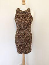 Topshop Dress 10 Leopard Print Retro Collared Body Con Stretch Mini Dress