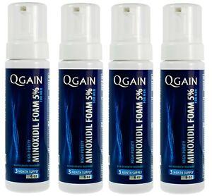 4 X Qgain MINOXIDIL FOAM 5% For MEN 12 month supply4 X 180mL bottle