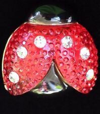 RESIN RED BLACK RHINESTONE INSECT BEETLE FLYING LADYBUG PIN BROOCH JEWELRY