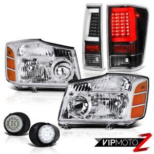 For 04-14 Nissan Titan LED Driving Raven Black Neon Tube Tail Head Light L+R SET