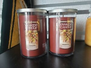 Yankee Candle Autumn Wreath Lot of Two Large 22 oz.  TWO WICK