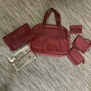 Vintage Maroon Red Baby Nappy Bag & Accessories