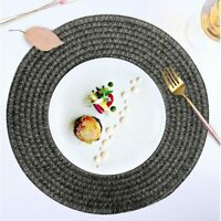 Round Placemats Set of 6 Table Mats Easy to Clean Non Slip Washable Woven