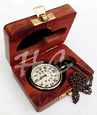 Nautical Maritime Antique Brass Pocket Watch Chain Pandent Clock With Wooden Box