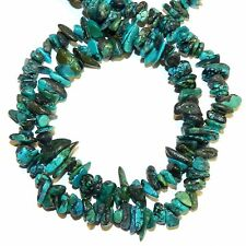 "T1913f Blue-Green Turquoise w Matrix Small 6mm - 10mm Gemstone Chip Beads 34"""