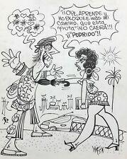 Cuban Art. Criollitas de Wilson. Original signed. Ink on cardboard. Criollitas