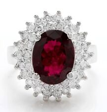 4.54 Carat Natural Tourmaline and Diamonds in 14K Solid White Gold Women Ring