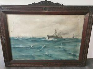 Huile Sur toile Marine Militaria Signé Daté bateau guerre