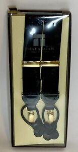 NIB Mens Black Trafalgar Convertible Suspenders Braces Gold Hardware Button