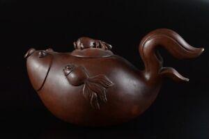 L8389: Chinese Brown pottery Fish-shaped TEAPOT Kyusu Sencha, auto