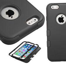 Apple iPhone 7 Hard Hybrid Case Snap On Cover Black/Black Silicone TUFF Mybat