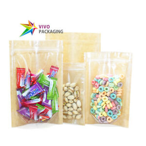Clear/Natural Kraft Paper Stand Up Doy Pouch, Zip Lock Food Zipper Bags(100 pcs)