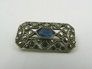 Antique Victorian Sterling Silver Brooch with Marcasite Decoration
