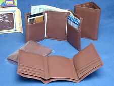 GENUINE LEATHER Men's or Women's, Slim, Brown, TRI-FOLD WALLET. NEW in Plastic