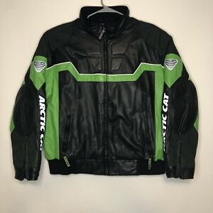 ArcticWear Arctic Cat Leather Jacket Mens XL Lined Logo Vintage Black Snowmobile