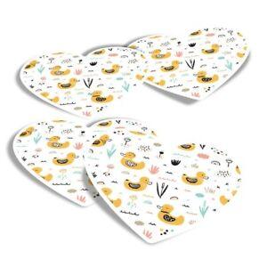 4x Heart Stickers - Cute Yellow Ducks Duckling  #2048