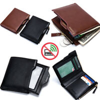 RFID Wallet Mens Leather RFID Blocking Zipper Coin Purse ID/Credit Card Holder
