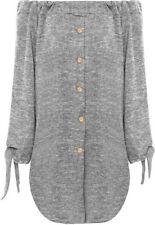 Magliette da donna a manica lunga grigio in poliestere