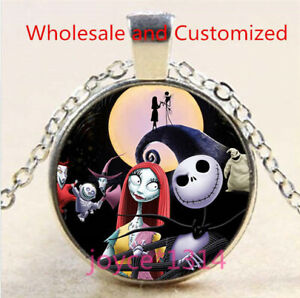 Nightmare Before Christmas Cabochon silver Glass Chain Pendant Necklace #4896