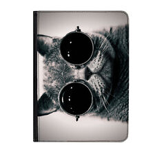 "Cat Sunglasses B&W Kitten Funny Universal Tablet 9-10.1"" Leather Flip Case Cover"