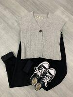 Seasalt 100% Lambs Wool Cardigan Short Sleeve Sz 14 Grey Fashion Button