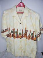 Vintage Royal Creations Guitars Ukuleles Pineapples Large Hawaiian Aloha Shirt