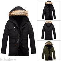 Men Winter Warm Camouflage Hooded Fur Collar Army Jacket Parka Outwear Long Coat