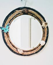 Porthole Look Blue & Tan with Shell Accents Jute Trimmed Round Mirror