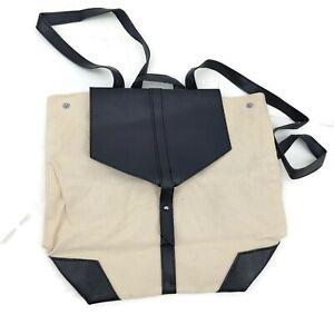 New Deux Lux Ivory Canvas Backpack Black Vegan Leather Bag Purse