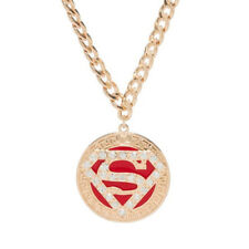 Superman Logo Bling Gold Round Sparkle Pendant Necklace