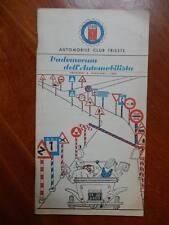 Automobil Club Trieste Vademecum dell'automobilista 1957 auto ACI