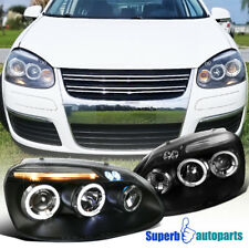 For 2006-2008 Golf/Jetta/Rabbit LED Halo Projector Headlights Black Replacement