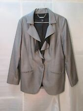 White House Black Market Blazer M Gray Ruffled Front Duster Jacket Career Work