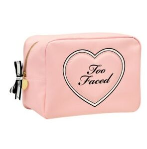 NWT Too Faced Leave No Makeup Behind Heart Supersized HUGE Pink Cosmetic Bag