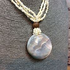 Multi Strand Shell Beads Necklace Shell Mother Of Pearl Disc Pendant