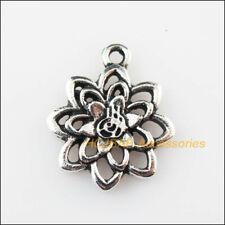 15 New Lotus Flowers Charms Tibetan Silver Pendants DIY 15x18.5mm