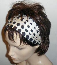 GENUINE VINTAGE 80s BLACK SPOT FAB HANDMADE HAIR WRAP BANDANA SCARF HEADBAND E33