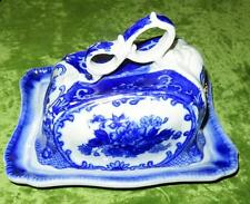 Rare Victoria Ware Flow Blue Ironstone Covered Cheese Dish