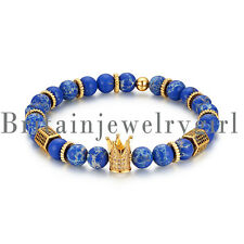 8mm Blue Lazuli Stone Beads Crown King Charm Elastic Bracelet for Men Women