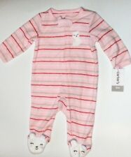 Carter's Baby Girls 3 Months Pink Striped Terry Footed Zip Up Pajama Sleeper