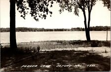 Oxford Wisconsin~Parker Lake~Drive Dead Ends into Shoreline Benches~1940s RPPC
